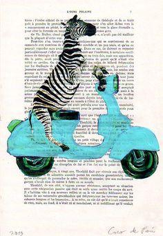 Mixed media prints posters Illustration Drawing acrylic paintings digital Giclee Valentine's Day : Zebra on Vespa. $10.00, via Etsy.