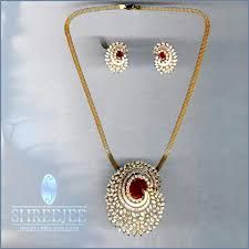 Image result for indian diamond pendant set designs
