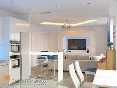 Фото: Дизайн кухни-гостиной - Интерьер трехкомнатной квартиры в современном стиле, ЖК «наб. реки Карповки,10», 110 кв.м.