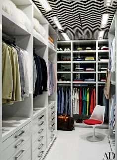 Decorator Martyn Lawrence Bullard crafted a graphic closet for Tommy Hilfiger at the designer's home near Miami.