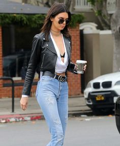Kendall Jenner in jeans, leather, and Gucci