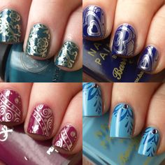 """a few stamping ideas    my youngest niece (3yrs) can't always sit through getting her nails completely done, but stamps are perfect since they dry quick and have maximum """"joy"""" impact....she giggled and showed off her nails after every stamp! the older ones have a little more patience and love the designs just as much!"""