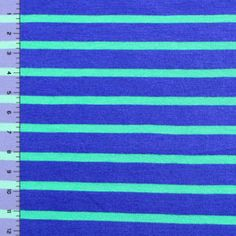 Kelly Green and Blue Stripe Modal Cotton Jersey Knit Fabric