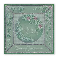 Holly and Ivy Christmas Flowers, Christmas Cross, All Things Christmas, Fall Cards, Xmas Cards, Parchment Cards, Card Tags, Craft Patterns, Hobbies And Crafts