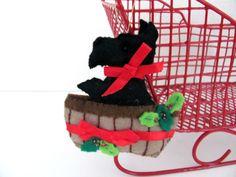 Vintage Felt Christmas Ornaments Bucilla by ThirstyOwlVintage Vintage Christmas Stockings, Dog Christmas Ornaments, Christmas Items, Christmas Dog, Felt Decorations, Christmas Decorations, Scottie Dog, Felt Crafts, Etsy Shop
