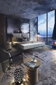 (via 8 Striking Bedrooms With Distinct Personalities) Damn this wall's texture