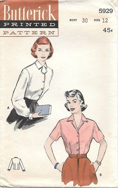 Butterick 5929 1950s Button Front Blouse Vintage Sewing