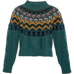 Temperley London     Cable Jacquard Jumper (35.355 RUB) ❤ liked on Polyvore featuring tops, sweaters, temperley london, green, cable knit sweater, green cable knit sweater, cable knit crew neck sweater, green crew neck sweater and crew-neck sweaters