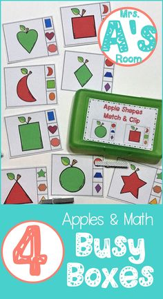 These adorable math activities are great for busy boxes, quiet time bins, centers, table activities, or morning tubs in any preschool or kindergarten class! They are all apple themed, and they are ready to print & easy to use! #preschool #kindergarten #mathideas #busyboxes #quiettimebins #applestheme Apple Activities, Number Activities, Counting Activities, Fall Preschool, Preschool Kindergarten, Preschool Seasons, Kindergarten Readiness, Kindergarten Themes, Preschool Themes