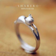 $4.29 925 Silver Lovely 3D Cat Kitten Ring Adjustable Ring