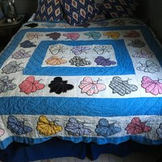 82 x 72 Vintage Handmade Lightweight and Soft Butterfly Moth Quilt