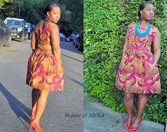 Balma Dress in mustard hues. by HouseofAfrika on Etsy