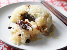 Glutinous Rice with Red Bean Paste, Walnuts, and Currants (make a savory version with pork belly!)