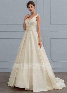 [US$ 132.99] Ball-Gown V-neck Sweep Train Satin Wedding Dress With Lace