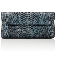 Baraboux Women's Anna Long Clutch ($1,210) ❤ liked on Polyvore featuring bags, handbags, clutches, blue, blue purse, snake print handbags, python print handbag, python purse and white handbags