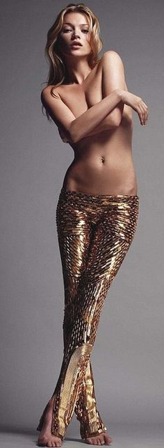 Kate Moss- solid gold pants    such a babe.
