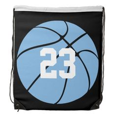 #Carolina Blue Custom #Basketball Cinch Drawstring Bag on Zazzle. Type in your own number to personalize it! #tarheels #UNC