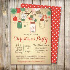 Mason Jar Christmas Party Invitation, Holiday Party Invitation, Christmas Invitation, Christmas Invite, Holiday Invitation, Printable by ThePaperTrailCo on Etsy (null)