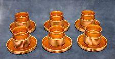 Vtg 70's TOGNANA Italy Mod 12 Pc Set Espresso Cups Saucers Ribbed Porcelain