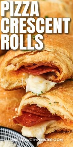 Tasty and toasty pizza crescent rolls are a favorite with kids and adults alike. Try this easy recipe for flaky crusted pizza rolls with sauce and cheese. #spendwithpennies #pizzacrescentrolls #crescentrolls #pepperonipizzacrescentrolls #appetizer #recipe #stringcheese #easy #cheese #pizza