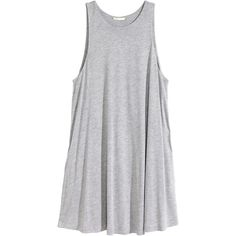 H&M A-line dress (255.615 IDR) ❤ liked on Polyvore featuring dresses, tops, vestidos, h&m, grey, grey dress, h&m dresses, layered dress, jersey dress and sleeveless jersey