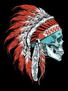 Skull Chief Art Print by Hengone - X-Small Indian Chief Tattoo, Indian Skull Tattoos, Native Art, Native American Art, Skull Artwork, Illustration Art, Illustrations, Skull Design, Skull And Bones