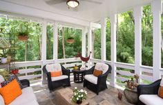 Wicker Furniture on Covered Porch