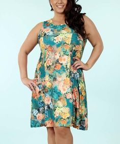 Look what I found on #zulily! Green & Coral Floral A-Line Dress - Plus #zulilyfinds