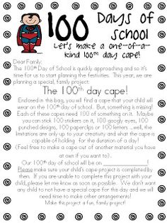 """Cute and CHEAP idea! Miner's Kindergarten Monkey Business: """"Super"""" Fun, New Twist on an Old Day of School Project--a 100 Day cape 100 Day Of School Project, 100 Days Of School, School Holidays, School Fun, School Projects, School Stuff, Winter Holidays, Classroom Projects, Happy Holidays"""