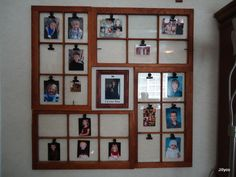 """My Dad and I made this wonderful recycled """"Window"""" Picture frame for his 13 Grandchildren. I added clips to make things easier to change ever coming School pictures/Baby Pictures. IT was Easy Peasy!!! Great JOB DAD!!!"""