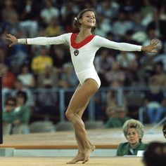 "Olga Korbut of USSR. She was 17 years old when she competed in the 1972 Munich Olympics, performing her extraordinary ""Korbut flip"""