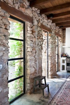 A beautiful holiday home in an old barn in Ibiza: interior inspiration! Have a look at the gorgeous and unique holiday home in Ibiza. Interior And Exterior, Interior Design, Interior Windows, Farmhouse Remodel, Wood Ceilings, Stone Houses, Cozy House, My Dream Home, Architecture Design