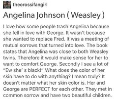 Angelina Johnson, Fred Weasley, George Weasley, Roxanne Weasley, Fred Weasley II, Harry Potter, hp, racism, antiblackness