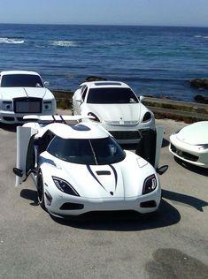 ♂ white cars by the ocean. Rolls Royce Ghost, Porsche panamera, Koenisegg agera R, Ferrari 458 Italia.
