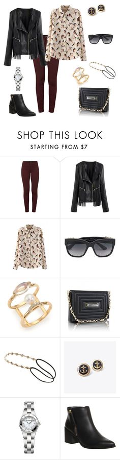 """""""brancher avec une veste en cuire"""" by lamiss-siyani ❤ liked on Polyvore featuring J Brand, WithChic, Dolce&Gabbana, Paige Novick, Kristina George, Accessorize, Misc., Baume & Mercier and Office"""
