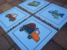 Set of 4 Transportation themed artwork for by CuteAsAButtonArt, $110.00