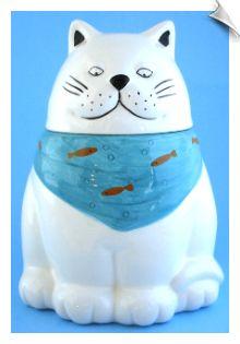 White Cat Ceramic Cookie Jar Teal Blue Bandana Orange Fish Kitty