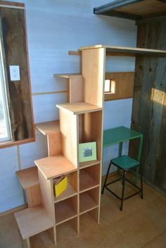 Boulder Tiny House - Stairs and Shelves