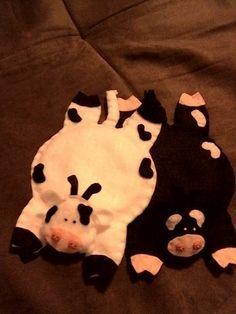 vacas porta copo em feltro
