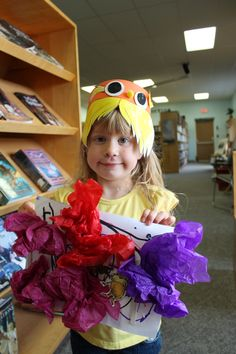 Ages 3-5. Our Lorax Hat and Truffula Tree Craft all Finished.