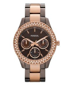 Fossil Watch, Women's Stella Chocolate and Rose Gold Tone Stainless Steel Bracelet - LOVE IT