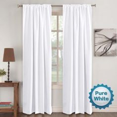 Window Treatment Curtains Insulated Thermal White Curtains Blackout Back tab/Rod- Pocket Room Darkening Curtains, Pure White, Solid Curtains for Living Room, W x L inch (Set of 2 Panels) Curtains Living Room, Curtains, Insulated Curtains, Kids Curtains, Half Price Drapes, White Paneling, White Curtains, Solid Curtains, White Blackout Curtains