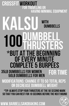 CrossFit Workout for Traveling or Having Minimal Equipment | Kalsu - Burpees & Dumbbell Thrusters | www.barbellsandbaking.com