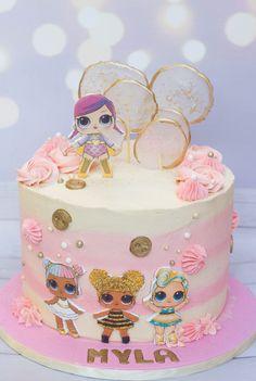Pink and gold LOL dolls cake Birthday Drip Cake, Doll Birthday Cake, Funny Birthday Cakes, Pink Birthday Cakes, Delicious Cake Recipes, Yummy Cakes, Lol Doll Cake, Cake Quotes, Bon Dessert