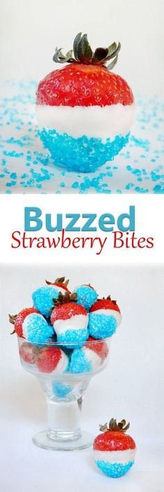 Buzzed Strawberry Bites Strawberries soaked in rum then covered in white chocolate and blue sprinkles. Perfect for Fourth of July dessert.