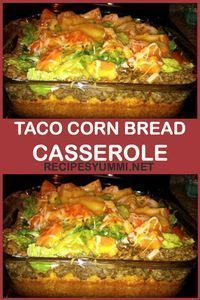 Taco Corn Bread Casserole Easy and delicious! Gourmet Recipes, Mexican Food Recipes, Great Recipes, Cooking Recipes, Favorite Recipes, Fast Recipes, Taco Cornbread Casserole, Casserole Dishes, Casserole Recipes