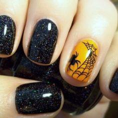 Halloween nails - Fun !! #halloween #nailart #manicure #nails #orange #black #glitter #sparklynails