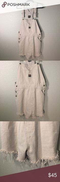 Beige Off White Urban Outfitters Route 66 Overalls Beige Off White Urban Outfitters Route 66 Ripped Distressed Overalls  | Size: M (Women's) | Condition: Pre-owned (Worn, used, no major flaws, and in good fashionable condition! Please see photos) Urban Outfitters Jeans Overalls