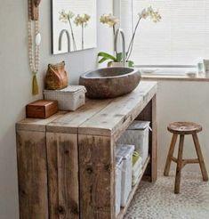Baño con mueble de pallet #mueblesdebaño