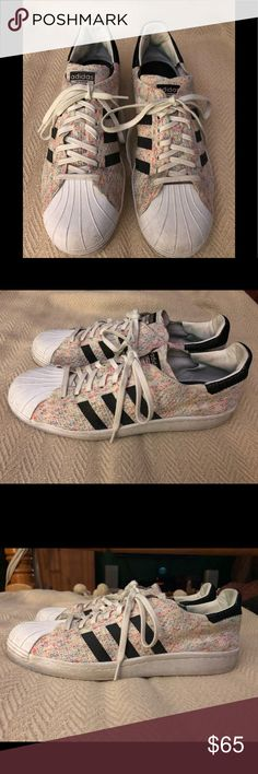 418c7644f7dc3 Adidas sneakers Rubber sole Low top knit toe cap Adidas Superstar 80s Pk  Primeknit Rainbow White
